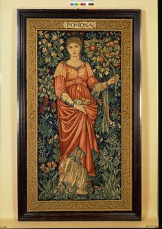 Pomona        Object:        Tapestry panel      Place of origin:        Merton, England (made)      Date:        ca. 1900 (made)      Artist/Maker:        Burne-Jones, Edward Coley (Sir), born 1833 - died 1898 (designer)      Dearle, John Henry, born 1860 - died 1932 (designer)      Merton Abbey Workshop (manufacturer)      Morris & Co. (weaver)      Materials and Techniques:        Tapestry woven in wool and silk on a cotton warp      Museum number:        T.33-1981      Gallery location: