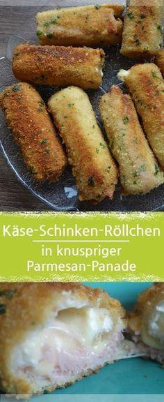 Käse-Schinken-Rolle mit Toast in knuspriger Parmesan-Panade – Meine Stube #käse #toast #fingerfood