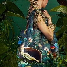 Deep green scenes. Faraway fantasy lands. Secretive stories. Rousseau was a self-taught French painter, best known for his exotic depictions of the jungle. Interestingly, he never left France and his inspiration came mostly from children's books. #LOQI #exoticdreams #prints #summer #exotic #flowers #jungle #HenriRousseau #Bag #Tropical #Rainforest #Flora #Fauna #Birds #Butterflies #lush #green #colourful #inspiration #dream #rousseau #lion #roar #green #fantasy