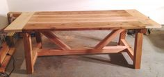 Finished Ana White 4x4 Truss Table - pre-stain. He used cedar and lumber cost $225 farmhouse table