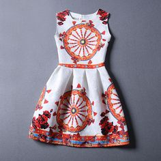 2016 New summer dresses vintage print dresses casual women dress fashion design party dress Vestidos Vintage Outfits, Vintage Summer Dresses, Summer Dresses For Women, Dresses For Teens, Girls Dresses, Flower Girl Dresses, 13 Year Girl Dress, Vestidos Vintage, One Piece Dress