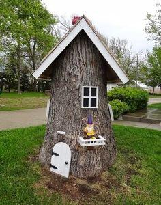 Verwandeln Sie alte Baumstümpfe zu großen Gartenobjekte um. Schön für den Sommer!
