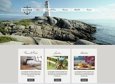 Seaside B and B Template - Featuring charming fonts and neutral colors, this elegant theme is perfect for your hotel, inn, or bed and breakf...