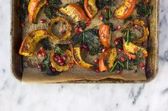 Za'atar Roasted Squash with Crispy Kale and Pomegranate - Tasty Yummies