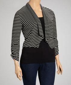 Take a look at this Black & White Stripe Open Blazer - Plus by Jonathan K Apparel on #zulily today!