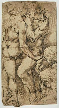 Bartolomeo Passarotti (1529-1592), Jupiter embrassant l'Amour / Jupiter embracing Love © Musée du Louvre, Département des Arts graphiques