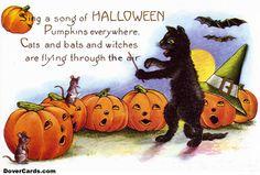 printable vintage Halloween card