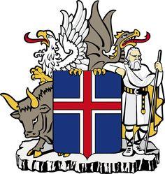 Coat of arms of Iceland - O Brasão de armas da Islândia é composto por uma cruz de prata sobre um escudo azul, com uma cruz vermelho-fogo no interior da cruz de prata (aparece na Bandeira da Islândia). O shieldbearers são os quatro protetores da Islândia (landvættir). O touro (Griðungur) é o protetor do sudoeste da Islândia, a águia ou griffin (Gammur) protege o noroeste da Islândia, o dragão (Dreki), a parte nordeste e o gigante (Bergrisi) é o protetor do sudeste da Islândia