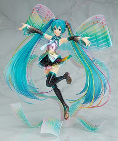 "Good Smile Company is going to release the Hatsune Miku ( �音ミク ) Anniversary Ver. PVC figure from the popular singing synthesizer application ""Vocaloid Catwoman, Figurine Anime, Geek House, Chibi, Otaku, Mikuo, Character Poses, Mode Shop, Anime Dolls"
