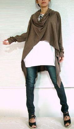 Women Unique Long Cardigan - Cowl Neck Oversized Wrap - chocolate brown in asymmetrical lagenlook. $56.00, via Etsy.