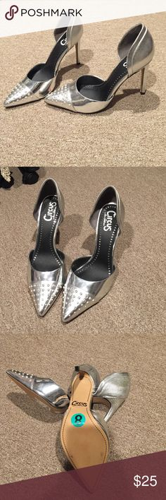 Silver Studded Pumps Studded and Snake Skin Silver on Silver!!! Never Worn Shoes Heels