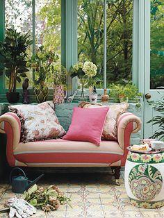 cosy Garden room garden room, conservatory, home decor, Conservatory Decor Small, Conservatory Interiors, Cosy Garden, Big Cushions, Cosy Corner, Small Corner, Room Of One's Own, Lounge, Outdoor Decor