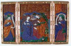 Atelier du Maître du triptyque d'Orléans, Limoges, fin du XVe siècle. L'Annonciation entre les prophètes David et Isaïe. Emaux polychromes, rehauts d'or. Don de Denis Dhéron en 1825.