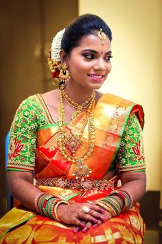 Blouse Styles, Blouse Designs, Bridal Makeover, South Indian Bride, Work Blouse, Indian Outfits, Beautiful Bride, Silk Sarees, Color Combinations
