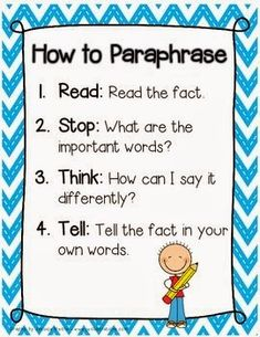 "The Grade 2 Hullabaloo: ""How to Paraphrase"" anchor chart *freebie*"