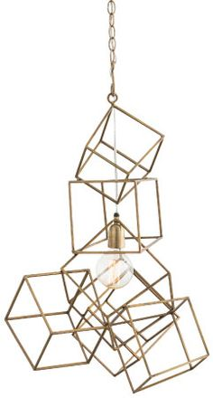 Precious Metals: @arteriorshome's  Mondrian-inspired Noel pendant suspends a free-form composition of interlinked cubes to dynamic, kinetic effect.