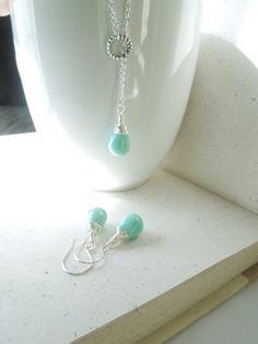 Mint Teardrop Necklace Lariat Necklace Aqua by JewelsbyJanine, $19.00
