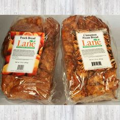 Made with our farm fresh peaches and pecans. Peach Bread, Bread Shop, Cinnamon Pecans, Online Gifts, Peaches, Sausage, Breads, Food, Bread Store