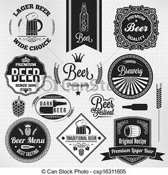 Vector - beer set vintage lager labels - stock illustration, royalty free illustrations, stock clip art icon, stock clipart icons, logo, line art, EPS picture, pictures, graphic, graphics, drawing, drawings, vector image, artwork, EPS vector art