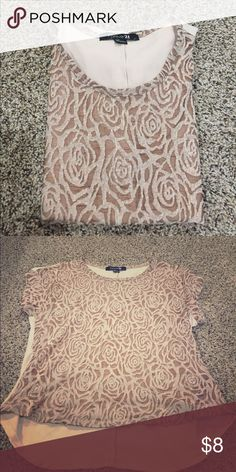 Chiffon Rose top Cream/blush chiffon rose top. Excellent condition Forever 21 Tops