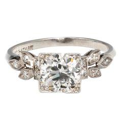 Old Euro Diamond Platinum Ring