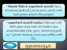 Supertech Ecociti Resale (9910002540) Price Noida Sector 137, Ready to M...