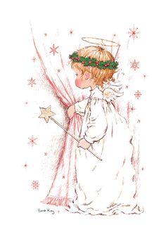 Lovely angel by Sarah Kay Vintage Christmas Cards, Christmas Images, Christmas Angels, Christmas Art, Illustration Noel, Christmas Illustration, Illustrations, Sara Kay, Christmas Drawing