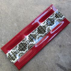 Fused glass plate Red home Decor Tribal Print by mediumstomasses, $42.00