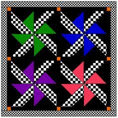 Free Quilt Patterns - Pinwheel WHEELS block