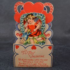 Vintage ART DECO Heart VALENTINE Card GIRL Swinging DOLL Stand Up GERMANY 3D