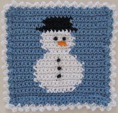 Snowman block crochet dischcloth.