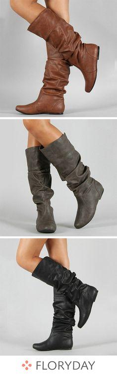 4e813d9944d0 Ruffles Mid-Calf Boots PU Low Heel Shoes