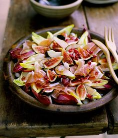 Australian Gourmet Traveller fast recipe for fig, prosciutto, pear and witlof salad with pomegranate vinaigrette