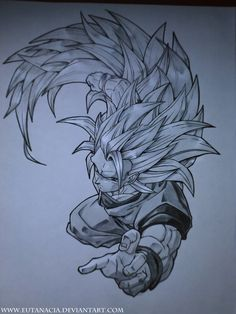 FAN ART: Dragon Ball Z: Dibujo de Goku  [Peleando] por EUTANACIA