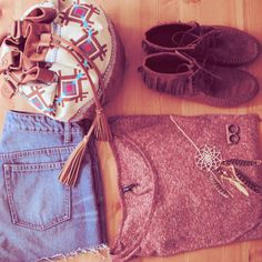 hipster outfit: fringe, tribal backpack, jean shorts