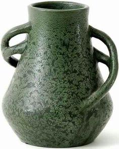 c.1905   Strobl Pottery   Thick matte green frog skin glaze