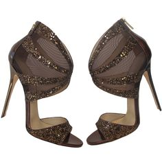 New Jimmy Choo Rich Bronze Glitter Mirror Sandal Bootie | From a collection of rare vintage shoes at https://www.1stdibs.com/fashion/clothing/shoes/