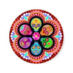 Sugar Skulls Sticker - Colorful Day of the Dead  Add your own customization. Find out how to schedule Facebook Posts to groups http;//www.kidsandmoneytoday.com/schedule-facebook-posts-7346/  #SocialMediaMarketing