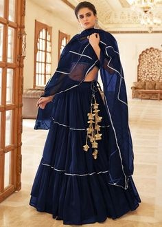 #dark #blue #net #lehenga #choli #designs # traditional #indian #outfits #gorgeous #bridesmaid #dresses #wedding #looks #ootd #new #arrival #womenswear #online #shopping