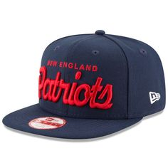 New Era New England Patriots Royal Historic Specialty Script Original Fit 9FIFTY Snapback Adjustable Hat
