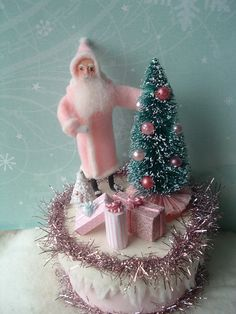 Santa Trinket Box VINTAGE STYLE spun cotton Santa ornament Christmas Tree