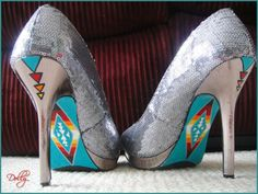"""Pendleton"" style sequin pumps. By Dolly Assiniwe, Wikwemikong, ON    https://www.facebook.com/media/set/?set=a.10152691208340123.1073741825.786325122=1"
