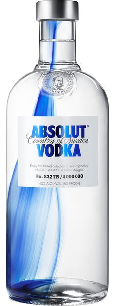 Absolut Originality Vodka Honouring Absolut's Swedish heritage, 'Originality' takes inspiration from traditional glass crafting for this elegant remake. A collection of 4 million individually designed bottles have been made for this years limited edition. Cobalt blue is infused into the glass of the bottle, creating a one of a kind blue streak each as unique as the next. The only thing that doesn't differ is the extremely smooth original Swedish Vodka itself.