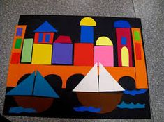 Building Venice - great visual and detailed lesson plan including pre cut shapes if doing with very young set. Art Lessons For Kids, Art Lessons Elementary, Art For Kids, Kindergarten Art, Preschool Art, Album Jeunesse, Italy Art, Art Curriculum, Shape Art