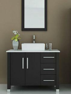 The stylish to Scorpio Single Vessel Sink Vanity in espresso exudes elegance in a way no other modern bathroom vanity can. Single Bathroom Vanity, Bathroom Faucets, Modern Bathroom, Master Bathrooms, Bathroom Cabinets, Farmhouse Bathrooms, Bathroom Black, Ikea Bathroom, Bathroom Small