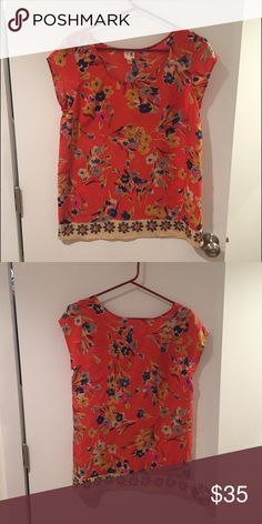Anthropologie Silk shirt Lovely 100% silk flower print shirt from Anthropologie. Great condition, lightweight, flattering fit. Anthropologie Tops Blouses