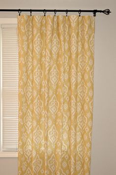 Pair of 50 inch wide Rod Pocket Curtain Panels in Saffron Yellow Macon Raji    Photos #3 are for reference purposes only. This listing is for