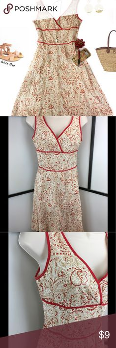 Paisley Summer Fit and Flare Dress, 5 Tan and dark coral paisley dress with a crossover neckline, wide band at the waist and gently flared skirt. Fabric is cotton/spandex, dress is unlined. No flaws to note. Bust-17, Waist-13.5, Length-37.5.   Casual but sophisticated dress for lunch with the inlaws or guest at a casual wedding. Speechless Dresses Midi
