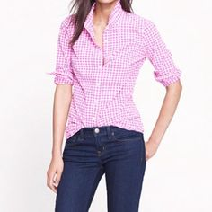 "Spotted while shopping on Poshmark: ""J. Crew hot pink gingham perfect shirt""! #poshmark #fashion #shopping #style #J. Crew #Tops"