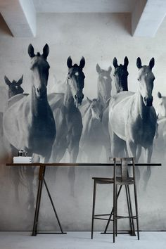 Horses are breathtakingly beautiful. This horse wall mural features a herd of Akhal Teke horses, which are an image of speed, endurance and intelligence. This empowering mural would look perfect as a feature wall in the living room or end of hallway spaces.